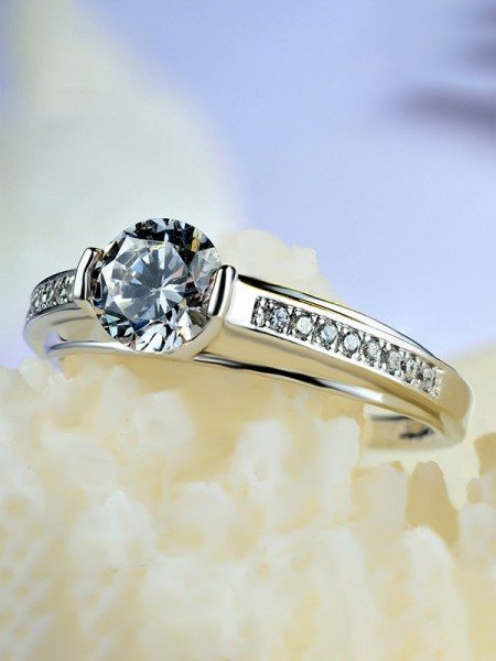 Charming S925 Silver With Zircon Wedding Rings