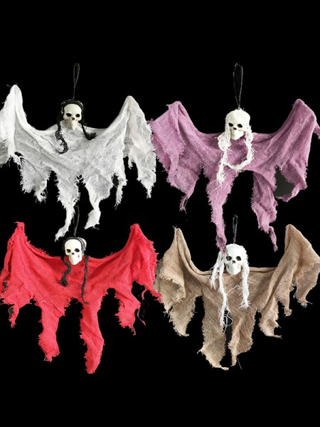 Halloween Delicate Cloth With Skull Hanging Ghost