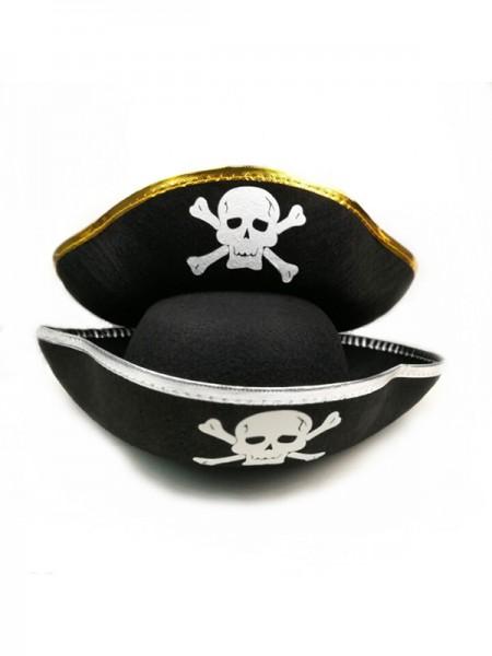 Halloween Vintage Felt With Skull Pirate Hat