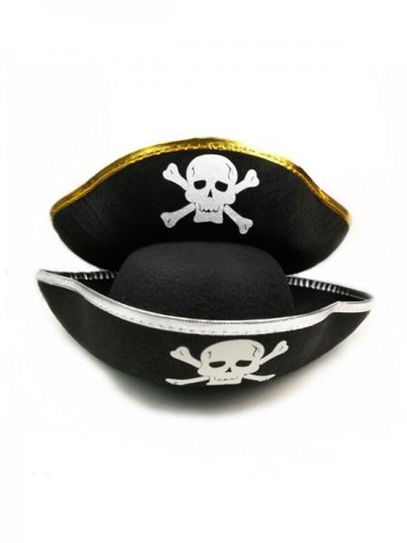 Halloween Unique Felt With Skull Pirate Hat