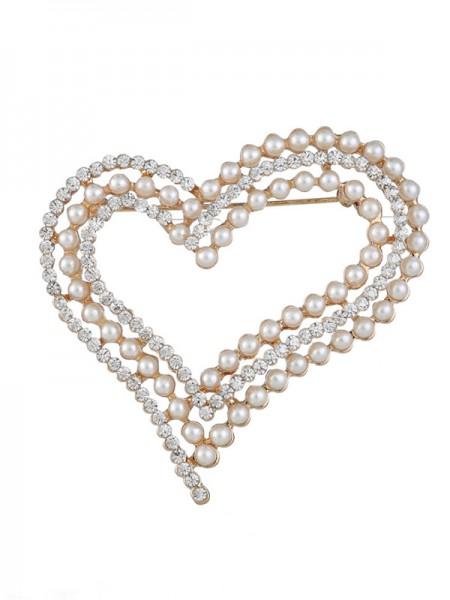 Eternal Love Alloy With Rhinestone/Imitation Pearl Ladies' Brooch