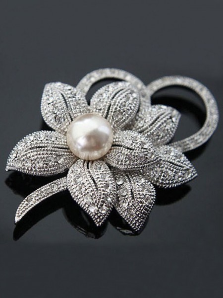 Fancy Alloy With Crystal/Imitation Pearl Ladies' Brooch