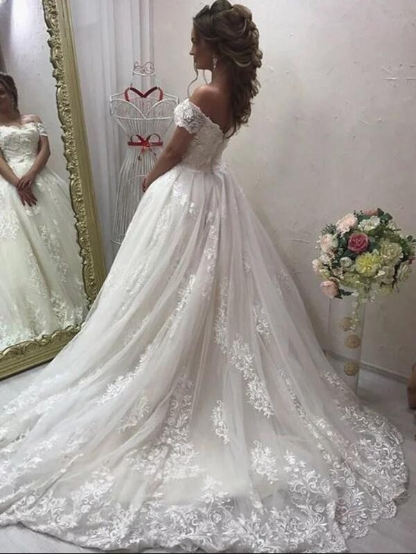 A Line Princess Off The Shoulder Sweep Brush Train Sleeveless Applique Wedding Dresses With Tulle