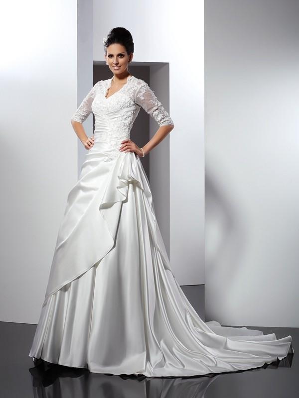 Princesa/Formato A Decote em V Appliques Meia Manga Longa Cetim Vestidos de Noiva