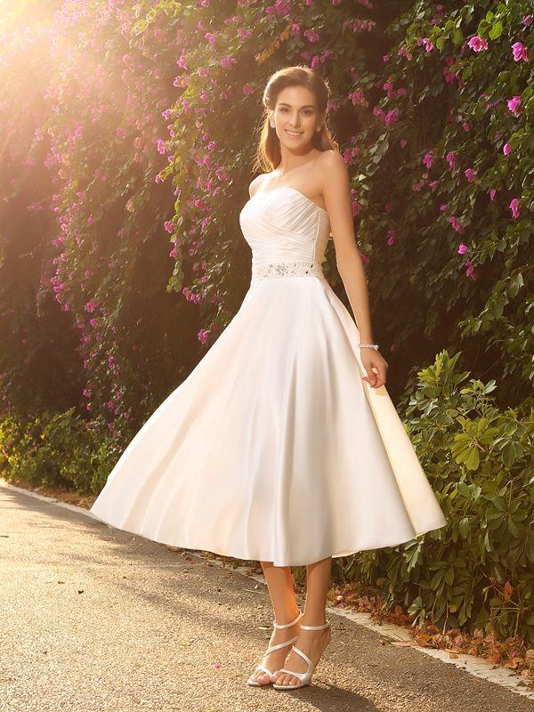 Princesa/Formato A Coração Missangas Sem Mangas Curtos Cetim Vestidos de Noiva
