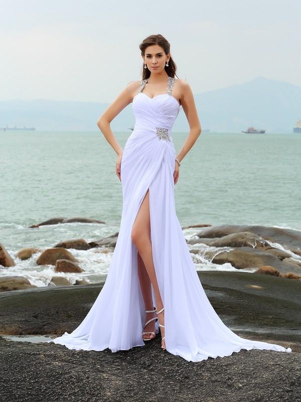 Bainha/Coluna Alças Missangas Sem Mangas Longa Chiffon Beach Vestidos de Noiva