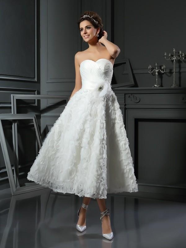 Princesa/Formato A Coração Laço Sem Mangas Curtos Cetim Vestidos de Noiva