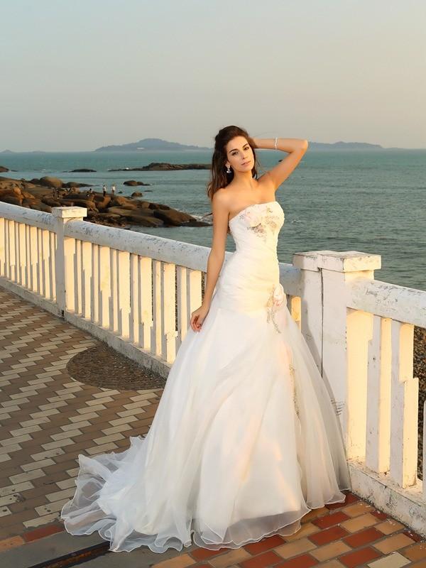 De Baile Sem Alça Flores Feitas à Mão Sem Mangas Longa Cetim Beach Vestidos de Noiva