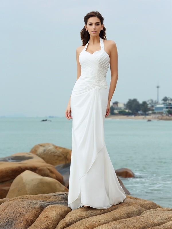 Bainha/Coluna Halter Plissada Sem Mangas Longa Chiffon Beach Vestidos de Noiva