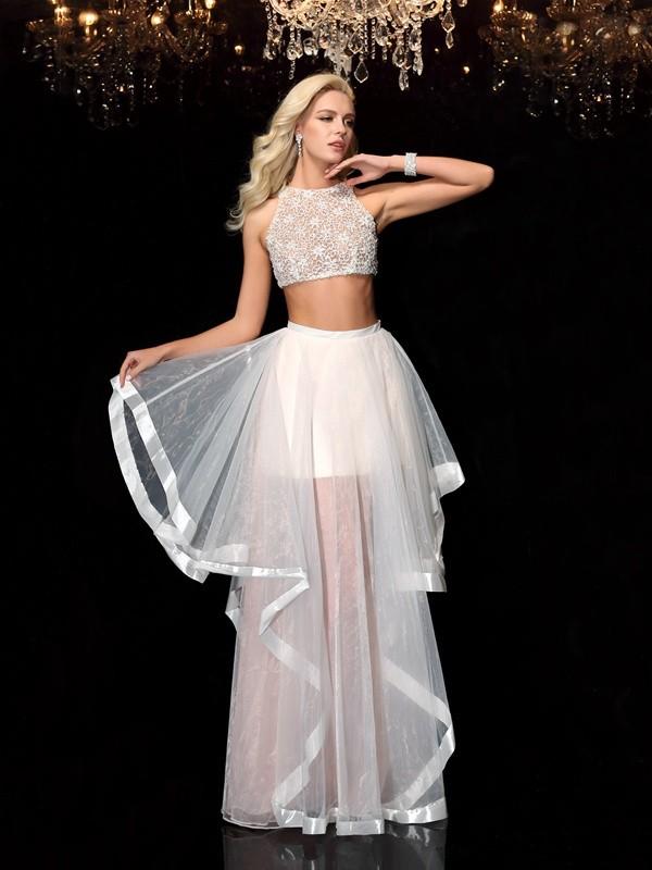 Princesa/Formato A Decote e costas em U Appliques Sem Mangas Longa Tule Vestidos de Festa Dois Pedaços