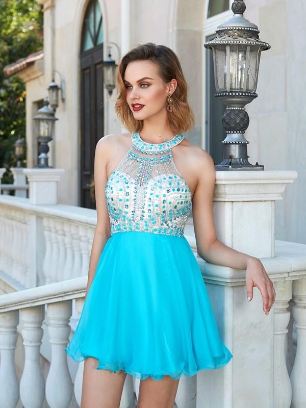 Princesa/Formato A Halter Missangas Sem Mangas Chiffon Curto/Mini Vestidos
