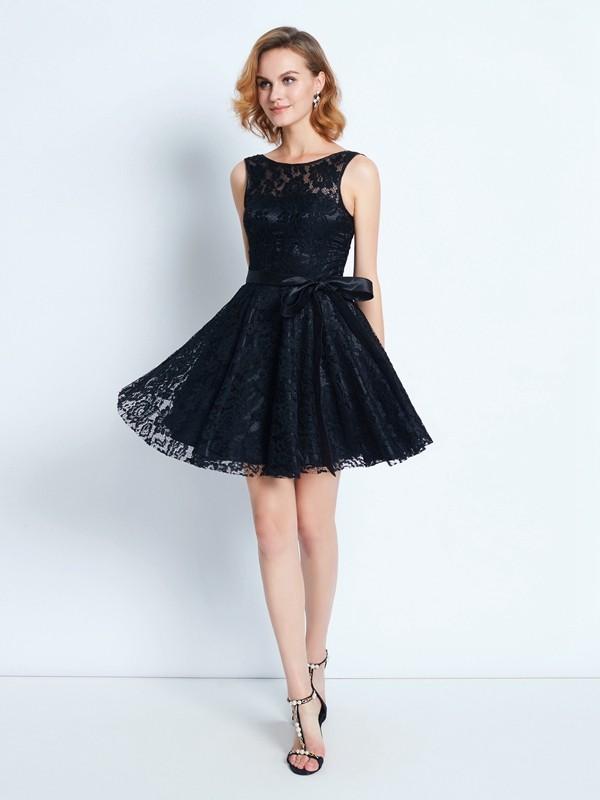 Princesa/Formato A Decote e costas em U Renda Sem Mangas Cinturão/Fitas Curto/Mini Vestidos