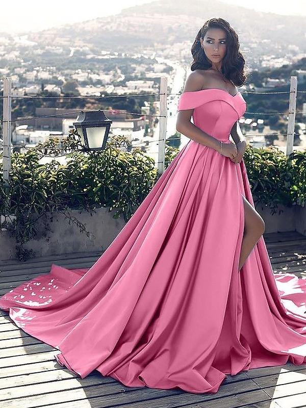 Princesa/Formato A Sem Mangas Ombro a Ombro Folhos Cetim Cauda Média Vestidos