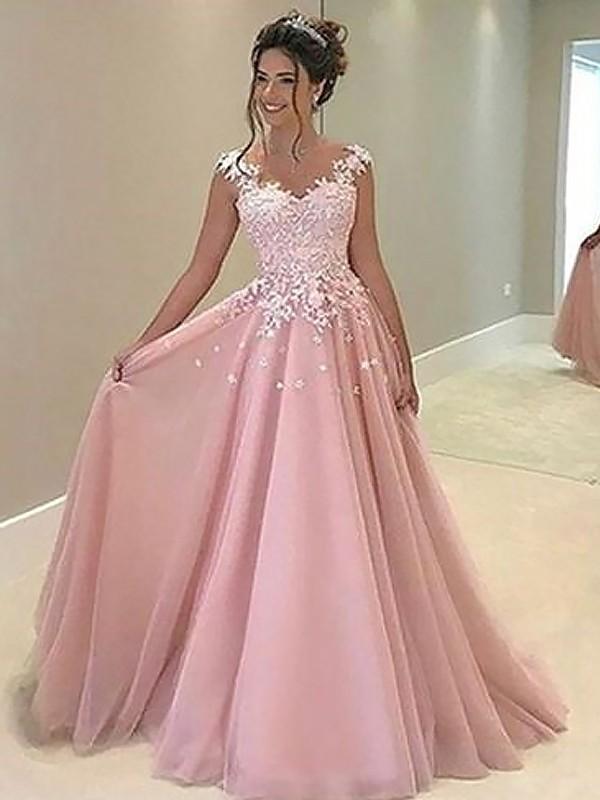 Princesa/Formato A Coração Sem Mangas Até ao chão Appliques Tule Vestidos