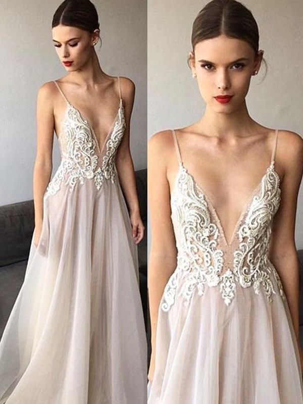 Princesa/Formato A Sem Mangas Decote em V Renda Tule Vestidos de Noiva