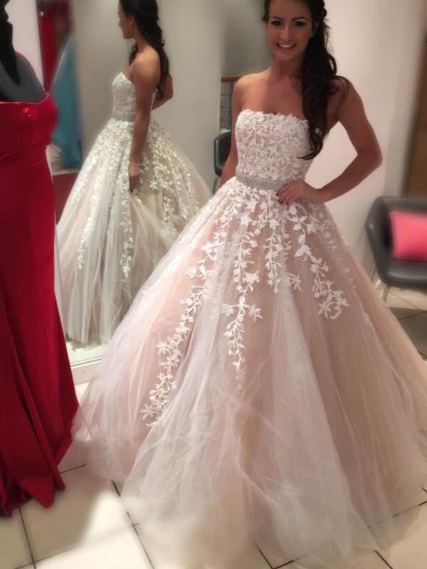 De Baile Sem Alça Sem Mangas Cauda Média Tule Vestidos de Noiva
