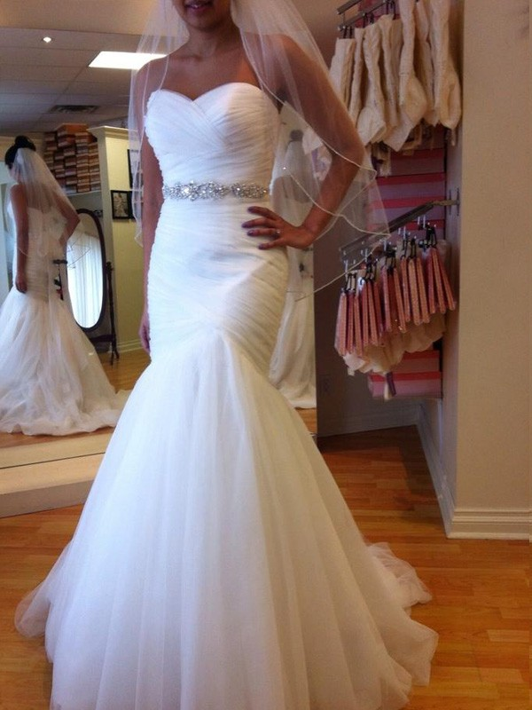 Trompete/Sereia Sem Mangas Coração Cauda Média Missangas Tule Vestidos de Noiva