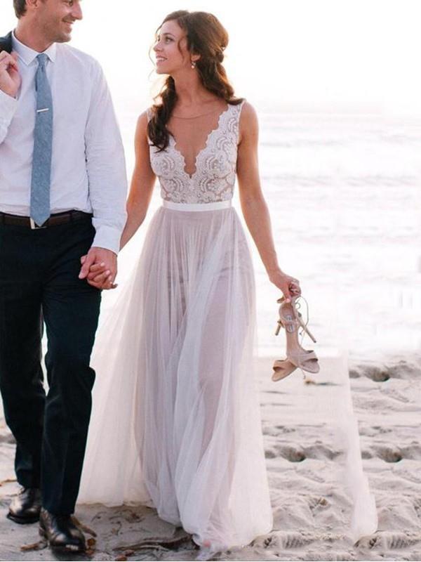 Princesa/Formato A Decote e costas em U Com cauda/Arrastar Sem Mangas Renda Tule Vestidos de Noiva
