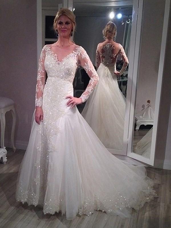 Princesa/Formato A Decote em V Com cauda/Arrastar Manga Comprida Paetês Tule Vestidos de Noiva