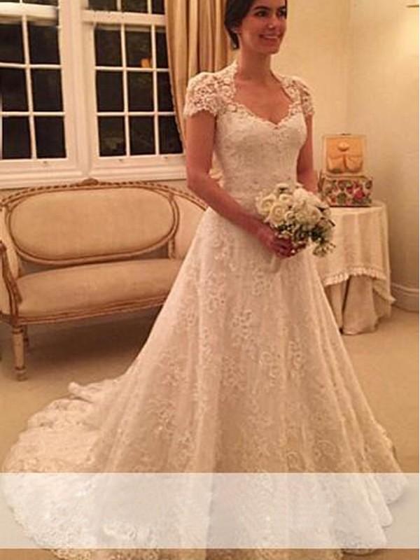Princesa/Formato A Coração Cauda Média Manga Curta Renda Vestidos de Noiva