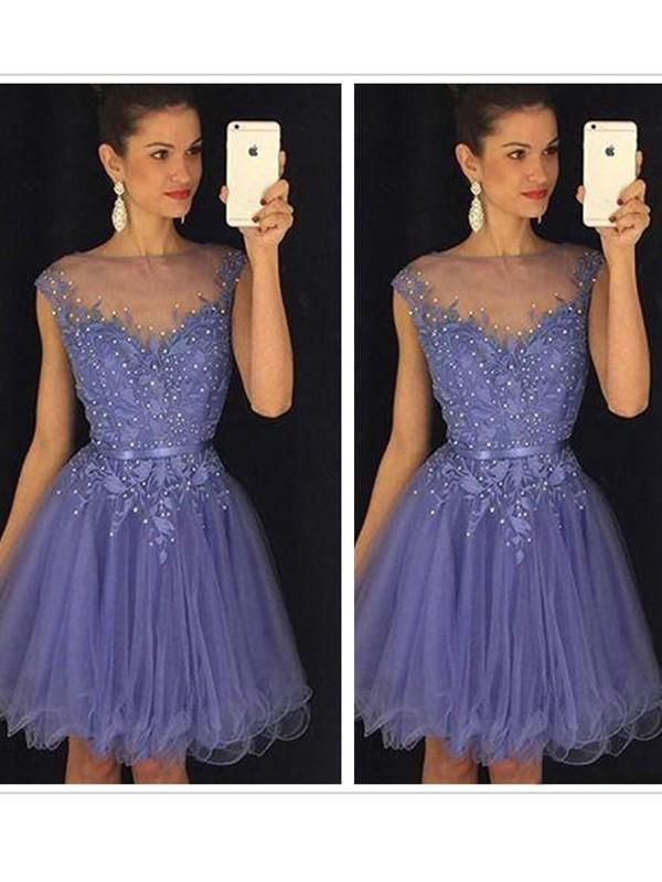 Princesa/Formato A Sem Mangas Decote e costas em U Appliques Tule Curto/Mini Vestidos