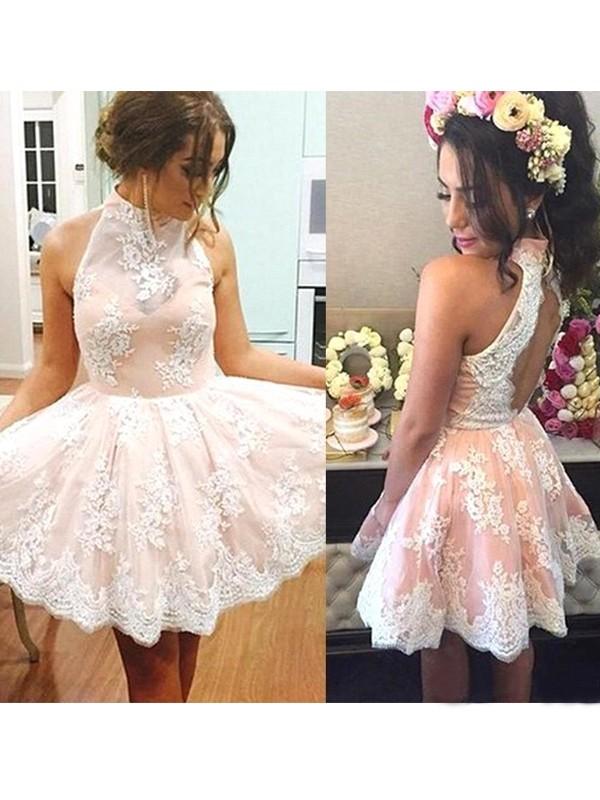 Princesa/Formato A Sem Mangas Com gola alta Renda Curto/Mini Vestidos