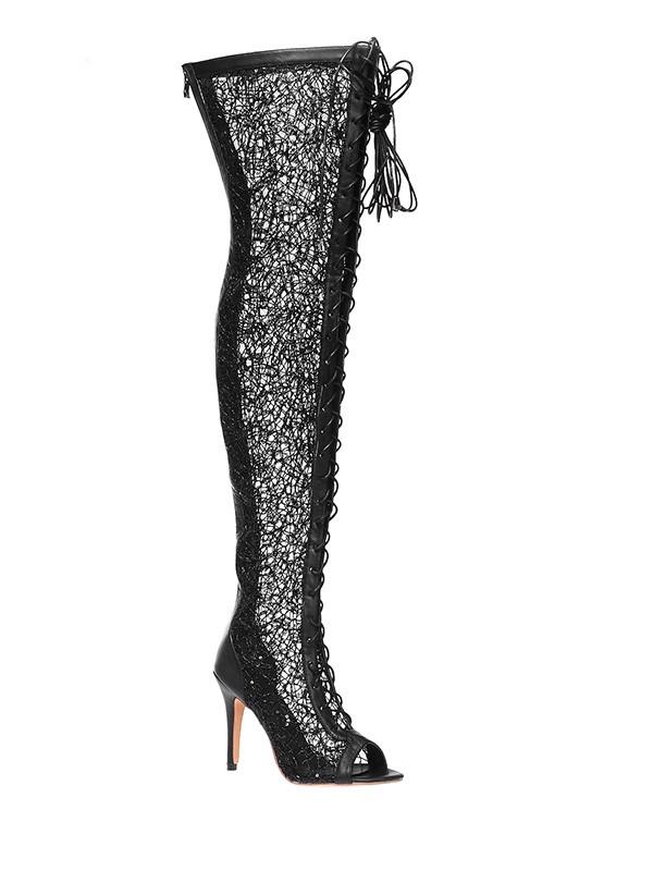 Mulheres Renda Plataforma Peep Toe Stiletto Heel com Renda-up Over The Knee Preto Botas