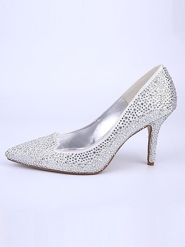 Mulheres Dedo do pé fechado Stiletto Heel com Cristal Prata Casamento Sapatos