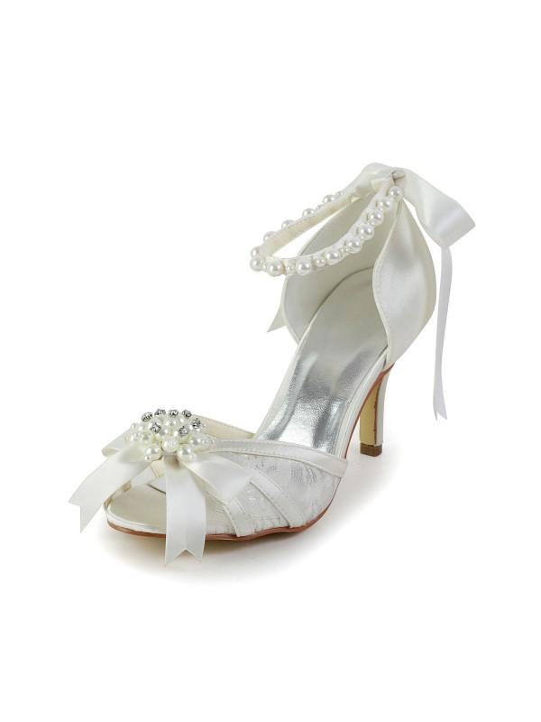 Mulheres Cetim Stiletto Heel Sandálias Sapatos de Dança Pérola