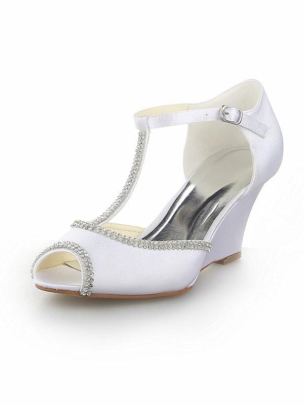 Mulheres Peep Toe T-Strap com Imitação de Diamante Cetim Cunhas Branco Casamento Sapatos