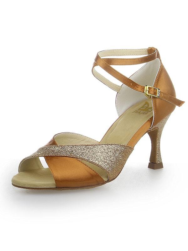 Mulheres Peep Toe Sparkling Glitter Cetim Stiletto Heel Sapatos de Dança