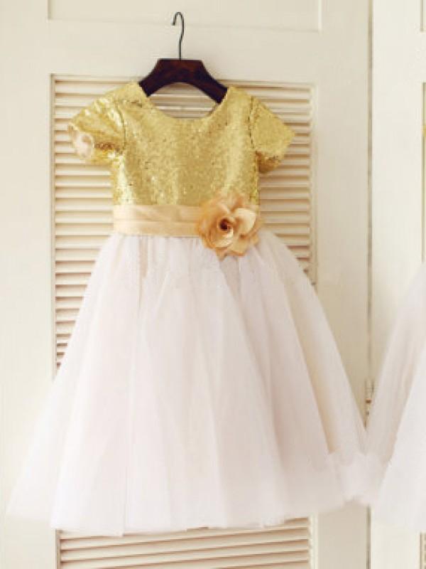 Princesa/Formato A Decote e costas em U Manga Curta Paetês Comprimento do Joelho Tule Vestidos
