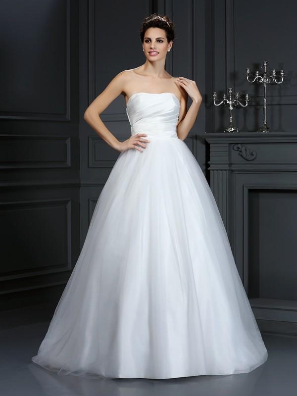 De Baile Sem Alça Plissada Sem Mangas Longa Tafetá Vestidos De Noiva
