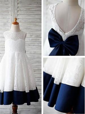Princesa/Formato A Decote e costas em U Laço Comprimento Médio Vestidos Menina das Flores com Renda