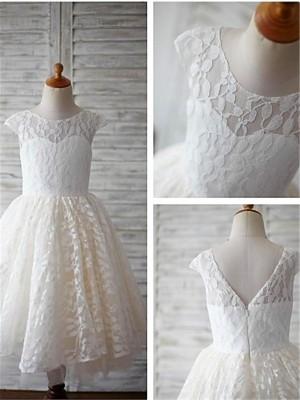 Princesa/Formato A Decote e costas em U Comprimento Médio Vestidos Menina das Flores com Renda