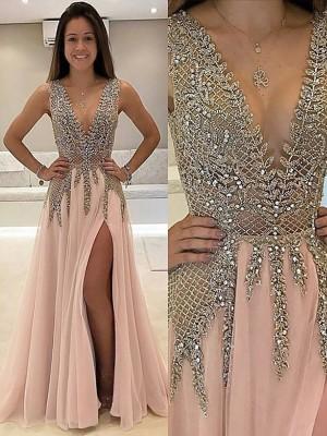 Princesa/Formato A Decote em V Sem Mangas Com cauda/Arrastar Missangas Tule Vestidos