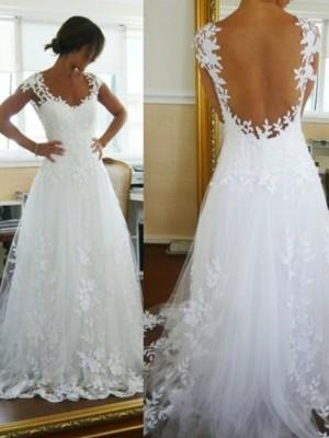 Princesa/Formato A Decote em V Com cauda/Arrastar Renda Sem Mangas Tule Vestidos de Noiva
