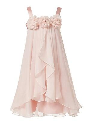 Princesa/Formato A Alças Flores Comprimento Médio Chiffon Até ao tornozelo Vestidos Menina das Flores