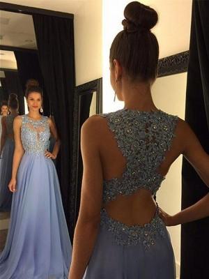 Princesa/Formato A Decote e costas em U Sem Mangas Com cauda/Arrastar Appliques Chiffon Vestidos