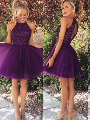 Princesa/Formato A Halter Sem Mangas Missangas Curto/Mini Tule Vestidos