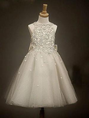 Princesa/Formato A Decote e costas em U Sem Mangas Laço Comprimento Médio Organza Vestidos Menina das Flores
