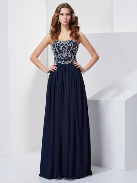 Princesa/Formato A Sem Alça Missangas Sem Mangas Longa Chiffon Vestidos