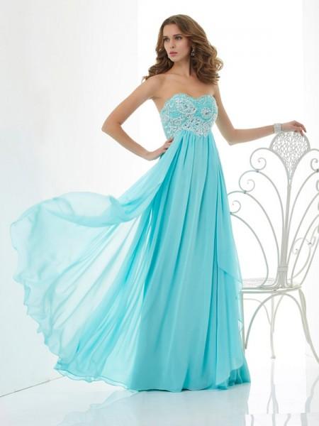 Princesa/Formato A Missangas Coração Sem Mangas Longa Chiffon Vestidos