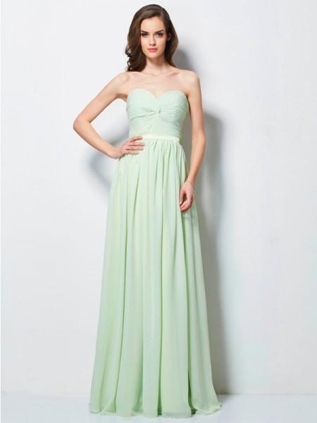 Princesa/Formato A Coração Plissada Sem Mangas Longa Chiffon Vestidos