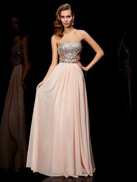 Princesa/Formato A Coração Imitação de Diamante Sem Mangas Longa Chiffon Vestidos