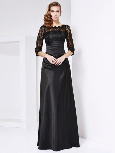 Bainha/Coluna Off the Shoulder Luva de Comprimento de 3/4 Renda Longa Cetim Esticado Vestidos Mãe da Noiva