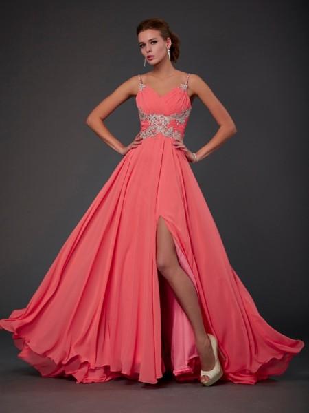 Princesa/Formato A Decote e costas em U Sem Mangas Renda Curtos Chiffon Vestidos