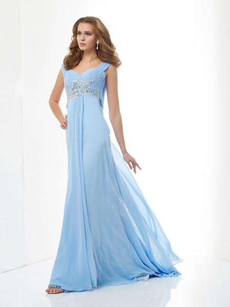 Princesa/Formato A Sem Mangas Missangas Coração Longa Chiffon Vestidos