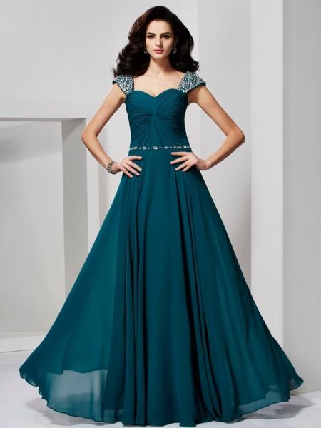 Princesa/Formato A Coração Sem Mangas Missangas Longa Chiffon Vestidos