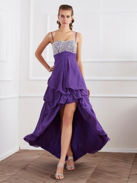 Princesa/Formato A Alças Finas Sem Mangas Folhos Alto-Baixo Chiffon Vestidos